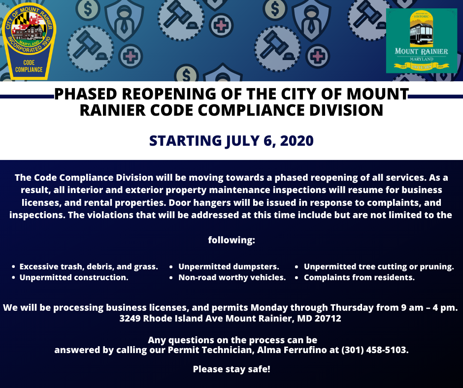 Phased Reopening of the City of Mount Rainier Code Compliance Division on JULY 6